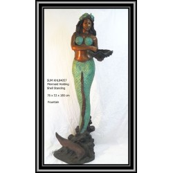 Mermaid Holding Shell Water Feature Bronze