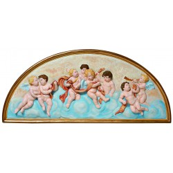 CHERUB AND ANGEL PLAQUE HAND PAINTED