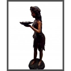 GIRL HOLDING SHELL WATER FEATURE
