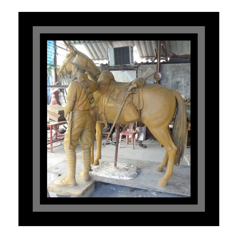 Cutom Bronze Soldier and Horse Life Size