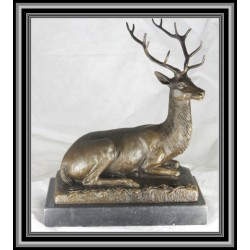 Deer Lying Statue Figurine Bronze