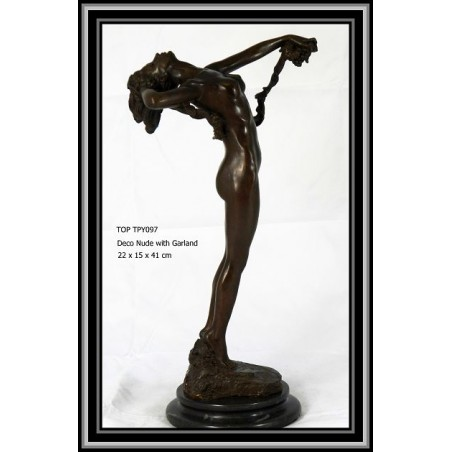 NUDE AND GARLAND BRONZE STATUES