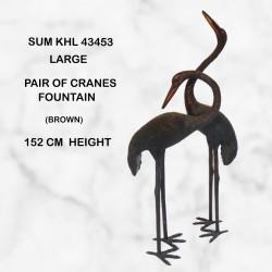 Large heron pair two tone brown patina