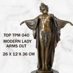 Female with arms out statue