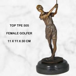 Female golfer statue