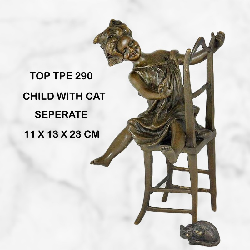 Child and cat statue