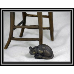 Child and Cat on chair Statue Figurine Bronze
