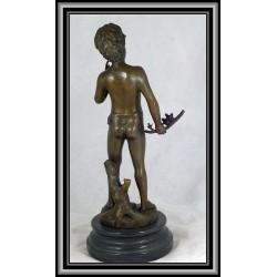 Boy statue figurine holding stick and birds bronze