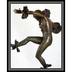 Art Deco Dancer with Ruffles Statue Figurine Bronze