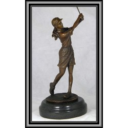 Female Golfer Statue Figurine Trophy Bronze