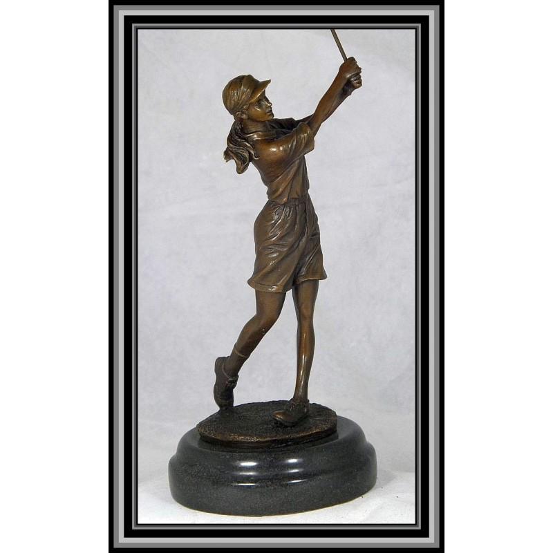 Female Golfer Statue Figurine Trophy Bronze