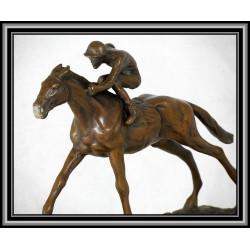 Horse and Jockey Racing Statue Figurine Bronze