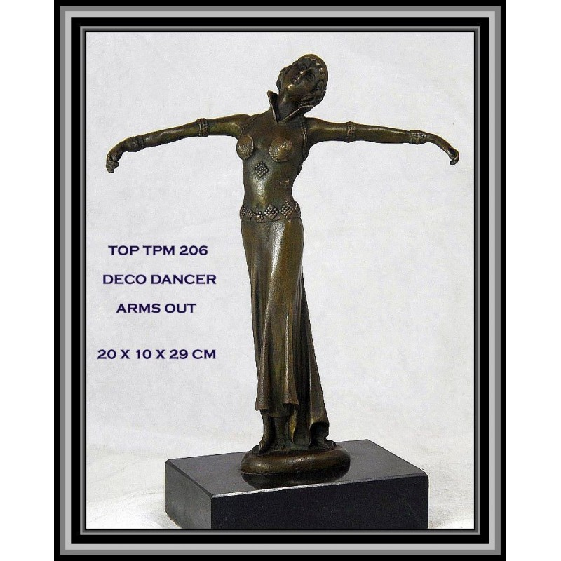 Art Deco Lady Arms Out Statue Figurine Bronze