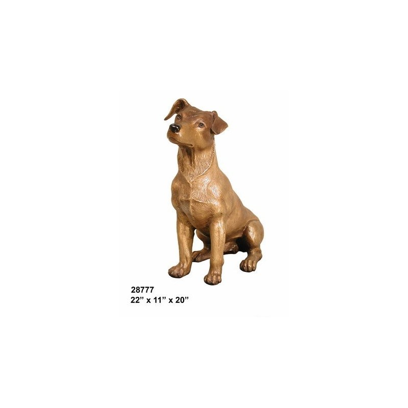 Jack Russell Terrier Dog Bronze Statue Lifesize