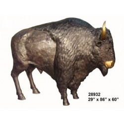 BISON BUFFALO BRONZE LIFE SIZE STATUE