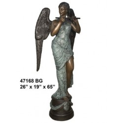 ANGEL FEMALE PLAYING FLUTE STATUE BRONZE