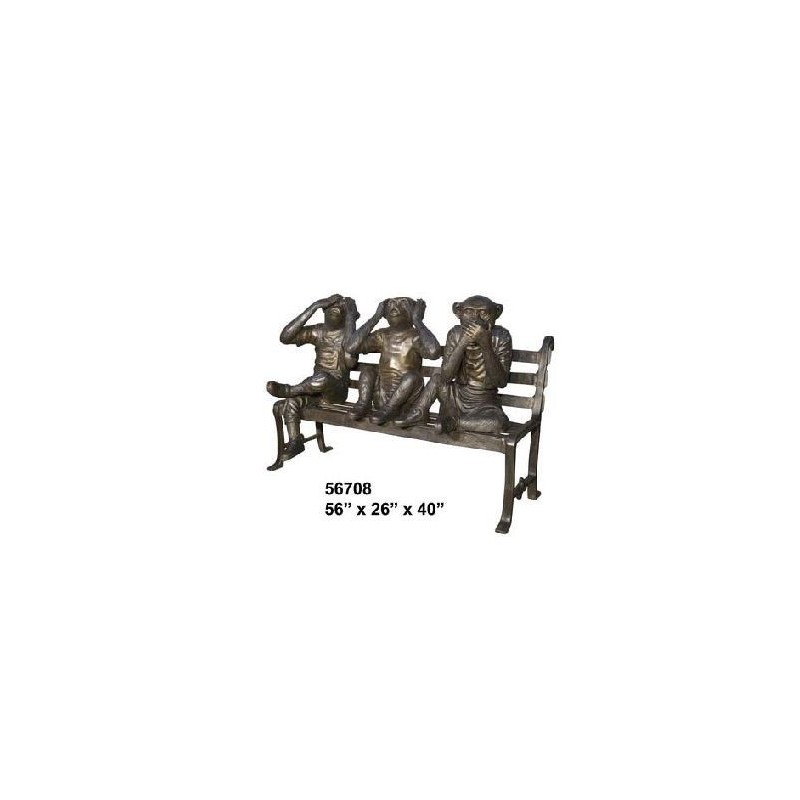 THREE WISE MONKEYS ON A PARK BENCH