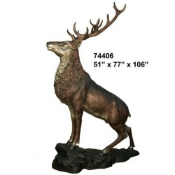 STAG ON A ROCK STATUE LIFESIZE
