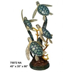 TURTLES SWIMMING STATUE BRONZE