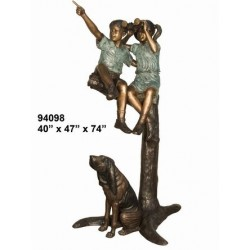 CHILDREN SITTING ON A BRANCH OUTDOOR STATUE