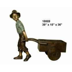 BOY AND BARROW OUTDOOR STATUE