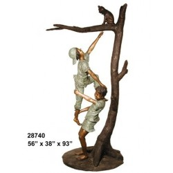 CHILDREN RESCUING CAT IN TREE OUTDOOR STATUE