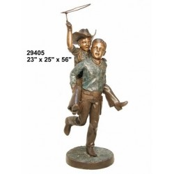 BOYS PLAYING COWBOYS OUTDOOR STATUE