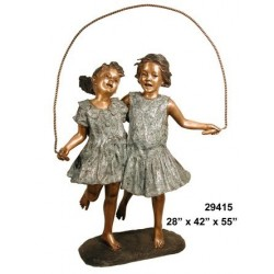 GIRLS SKIPPING ROPE OUTDOOR STATUE