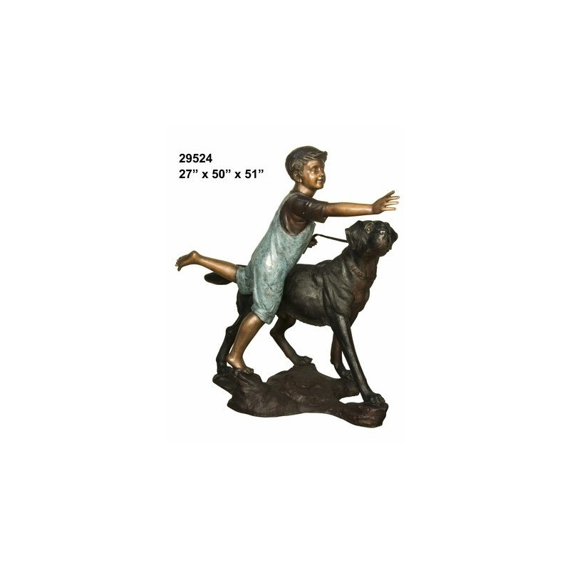 BOY AND DOG BRONZE STATUE