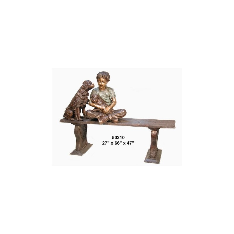 BOY AND HIS DOG ON BENCH OUTDOOR STATUE