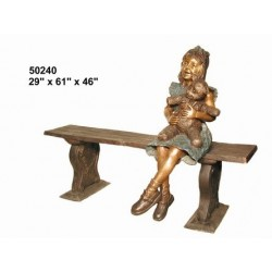 GIRL AND TEDDY BEAR SITTING ON BENCH STATUE