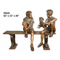 GIRL BOY AND DOG ON BENCH BRONZE STATUE