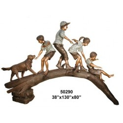 CHILDREN BALANCING ON A LOG STATUE
