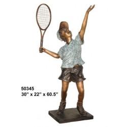 BOY PLAYING TENNIS OUTDOOR BRONZE STATUE