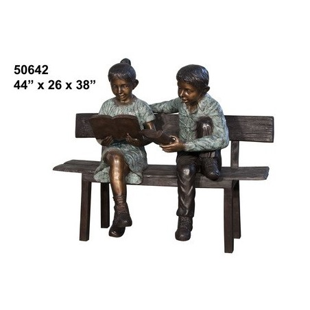 BOY AND GIRL ON BENCH STATUE