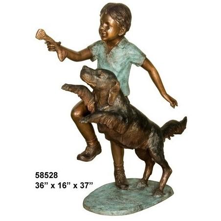 BOY AND HIS DOG OTDOOR BRONZE STATUE