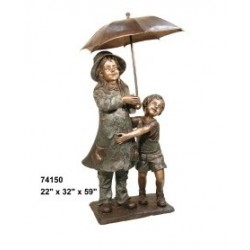 GIRL AND LITTLE BROTHER UNDER UMBRELLA