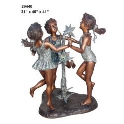 GIRLS DANCING AROUND FOUNTAIN WATER FEATURE