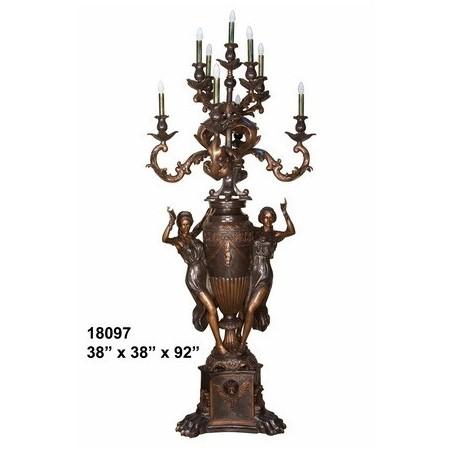 LAMP TALL ORNATE BRONZE