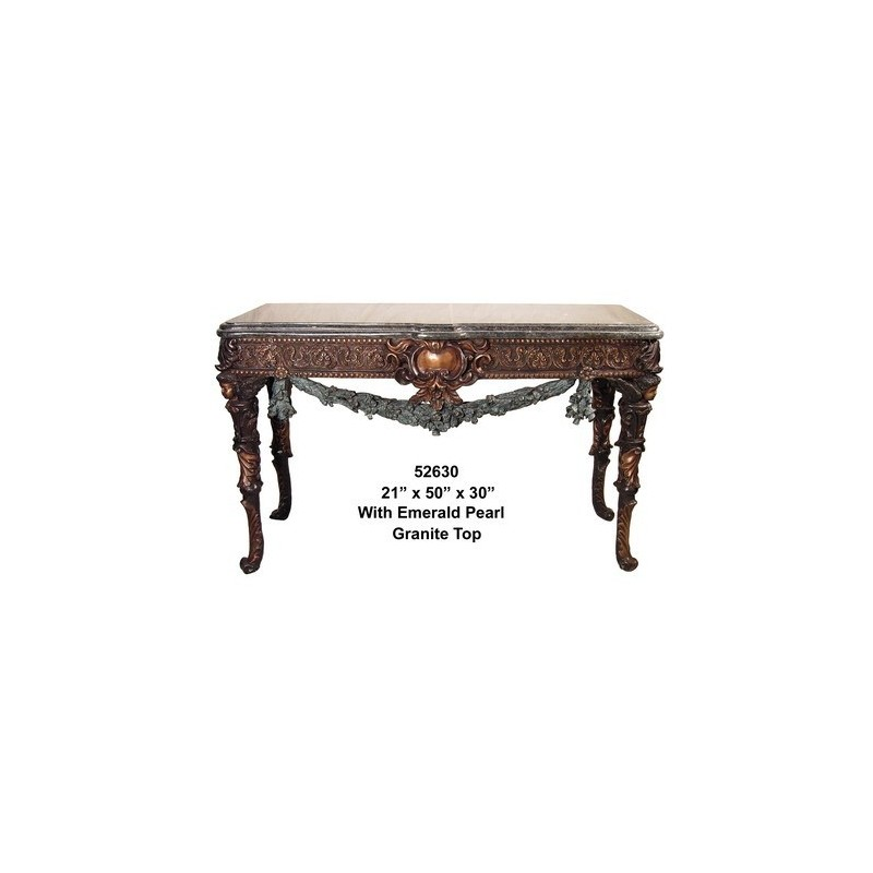 TABLE WITH EMERALD PEARL GRANITE TOP
