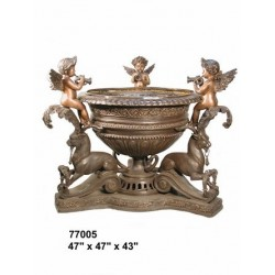 URN WITH CHERUBS AND LIONS