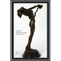 NUDE AND GARLAND BRONZE...