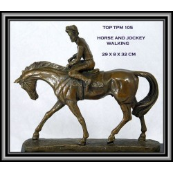 Horse and Jockey Statue Figurine Bronze