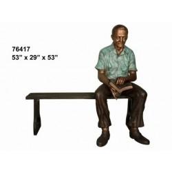 MAN GRANDAD SITTING ON PARK BENCH
