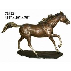 HORSE ON BASE RUNNING LIFESIZE STATUE