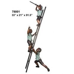 BOYS CLIMBING LADDER BRONZE STATUE