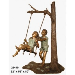 BOY AND GIRL ON SWING OUTDOOR STATUE