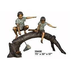 BOYS FISHING WITH NET ON A LOG STATUE